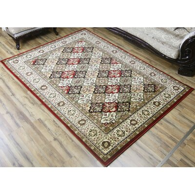 Super Belkis Red/Green Area Rug Rug Size: 53 x 75