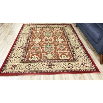 Super Belkis Red/Beige Area Rug Rug Size: 67 x 96