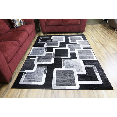 Passion Black/Gray Area Rug Rug Size: 53 x 73