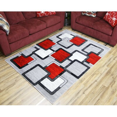Passion Gray/Red Area Rug Rug Size: 53 x 73