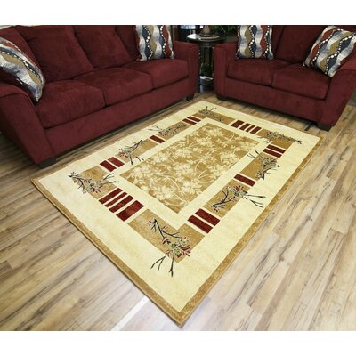 Passion Gold/Beige Area Rug Rug Size: 67 x 96
