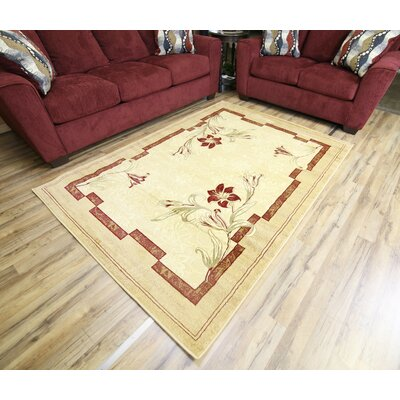 Passion Cream/Beige Area Rug Rug Size: 53 x 73