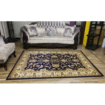 Passion Navy/Beige Area Rug Rug Size: 67 x 96