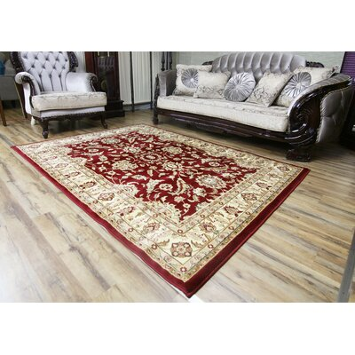 Passion Red/Beige Area Rug Rug Size: 53 x 73