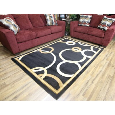 Passion Black/Beige Area Rug Rug Size: 53 x 73