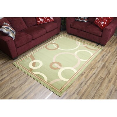Passion Green/Brown Area Rug Rug Size: 53 x 73
