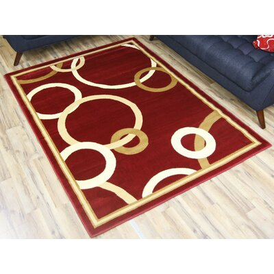 Passion Red/Gold Area Rug Rug Size: 53 x 73