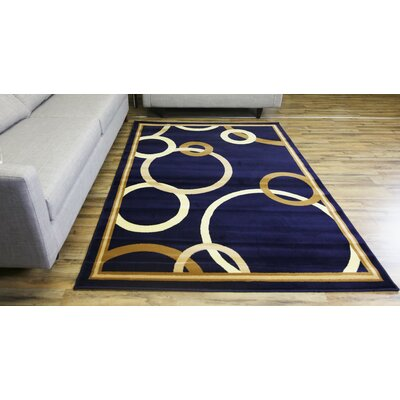 Passion Navy/Gold Area Rug Rug Size: 710 x 102