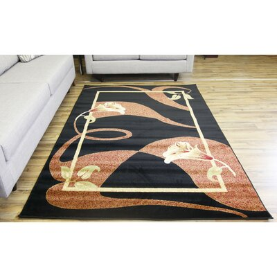 Passion Black/Red Area Rug Rug Size: 53 x 73