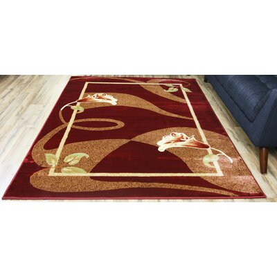 Passion Red/Cream Area Rug Rug Size: Rectangle 67 x 96