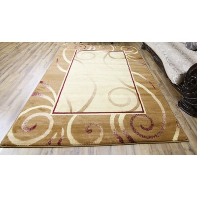 Passion Gold/Cream Area Rug Rug Size: 53 x 73