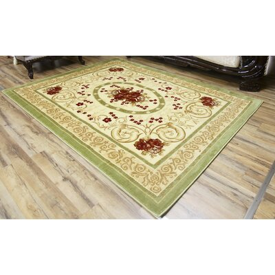 Passion Green/Cream Area Rug Rug Size: 53 x 73