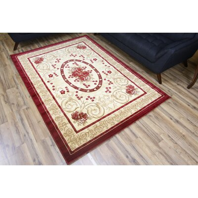 Passion Red/Cream Area Rug Rug Size: 67 x 96