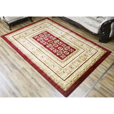 Passion Red/Cream Area Rug Rug Size: 53 x 73