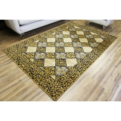 Passion Leopard Gold/Black Area Rug Rug Size: 710 x 102