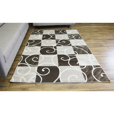 Passion Brown/Cream Area Rug Rug Size: 53 x 73