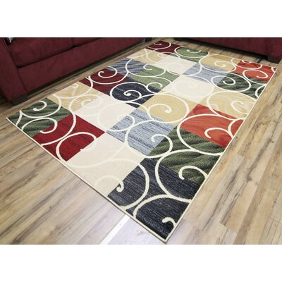 Passion Cream/Green Area Rug Rug Size: 53 x 73