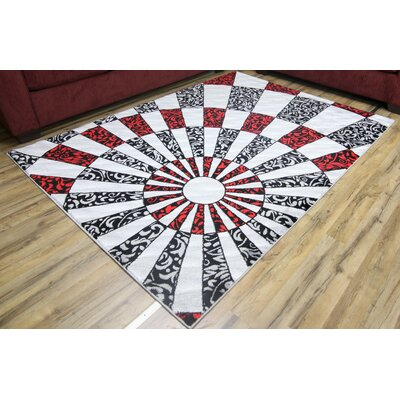 Passion Silver/Black Area Rug Rug Size: 53 x 73