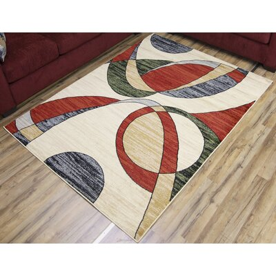 Passion Cream/Red Area Rug Rug Size: 53 x 73