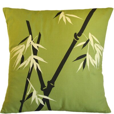 Wild Bamboo on Moss Cotton Throw Pillow