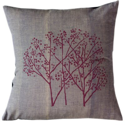 Magenta Woods on Graphite Cotton Throw Pillow Size: Large