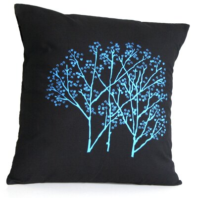 Forest Frost on Charcoal Cotton Throw Pillow Size: Large