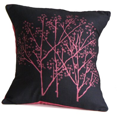 Forest Blush on Charcoal Cotton Throw Pillow Size: Large