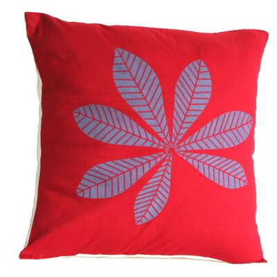 Geometric Leaf Cotton Throw Pillow Size: Large, Color: Fern