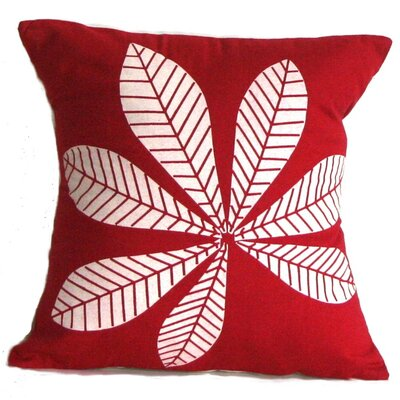 Geometric Leaf Cotton Throw Pillow Size: Small, Color: Crimson