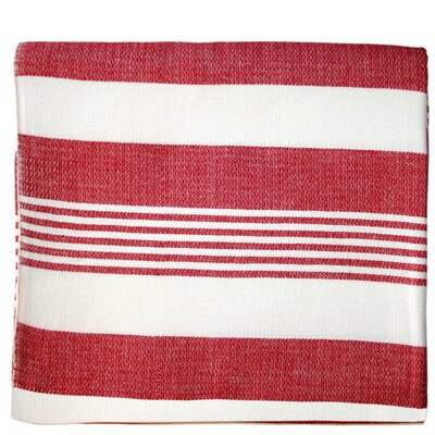 Striped Cotton Beach Blanket Color: Cherry