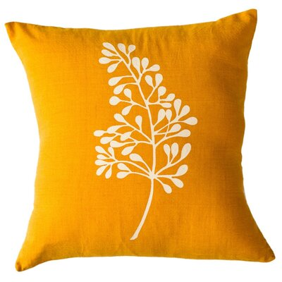Botanical Cotton Throw Pillow Size: 16 H x 16 W, Color: Turmeric