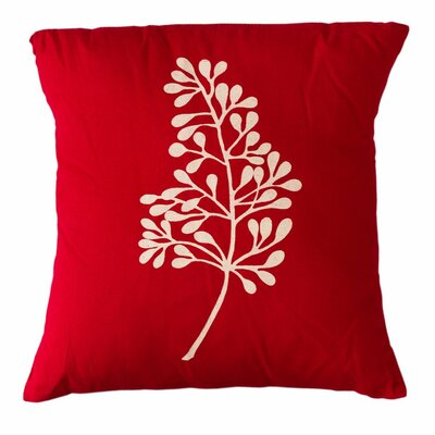 Botanical Cotton Throw Pillow Size: 16 H x 16 W, Color: Red