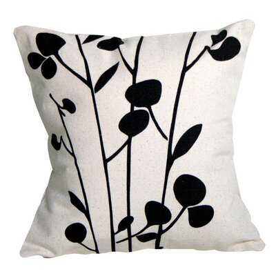 Grow Cotton Throw Pillow Size: 16 H x 16 W, Color: Black