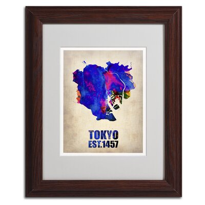 "Tokyo Watercolor Map"" by Naxart Framed Graphic Art Size: 20"" H x 16"" W x 0.5"" D, Frame Color: Brown ALI0123-W1620MF"