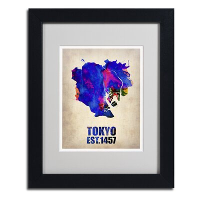 "Tokyo Watercolor Map"" by Naxart Framed Graphic Art Size: 20"" H x 16"" W x 0.5"" D, Frame Color: Black ALI0123-B1620MF"