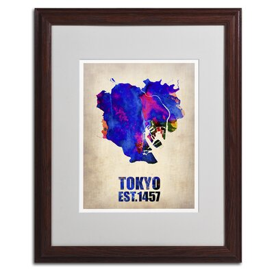 """Tokyo Watercolor Map"""" by Naxart Framed Graphic Art Size: 20"""" H x 16"""" W x 0.5"""" D, Frame Color: Black ALI0123-B1620MF"""