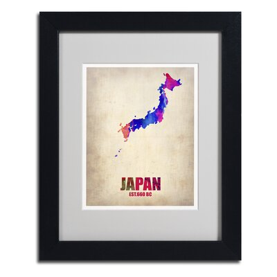 "Japan Watercolor Map"" by Naxart Framed Graphic Art Size: 20"" H x 16"" W x 0.5"" D, Frame Color: Black ALI0179-B1620MF"