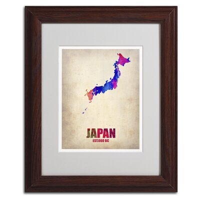 "Japan Watercolor Map"" by Naxart Framed Graphic Art Size: 20"" H x 16"" W x 0.5"" D, Frame Color: Brown ALI0179-W1620MF"