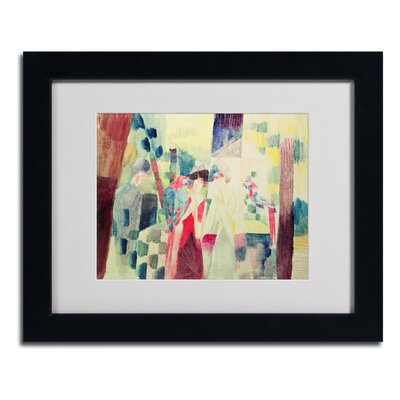 "Two Women and a Man With Parrots"" by August Macke Framed Painting Print BL01247-B1114MF"
