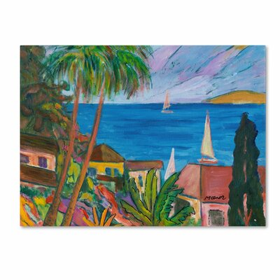 """Three Sails on the Pacific"""" by Manor Shadian Painting Print on Wrapped Canvas MA0457-C1419GG"""