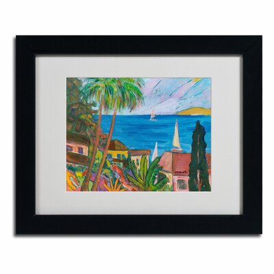 """Three Sails on the Pacific"""" by Manor Shadian Framed Painting Print MA0457-B1114MF"""