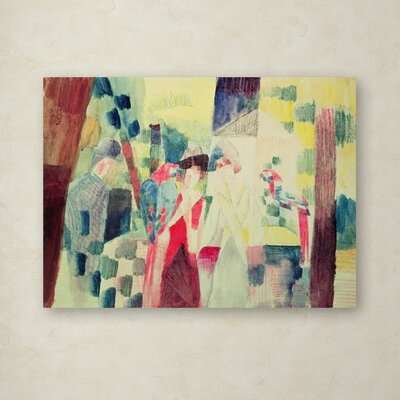 "Two Women and a Man With Parrots"" by August Macke Painting Print on Wrapped Canvas BL01247-C1419GG"