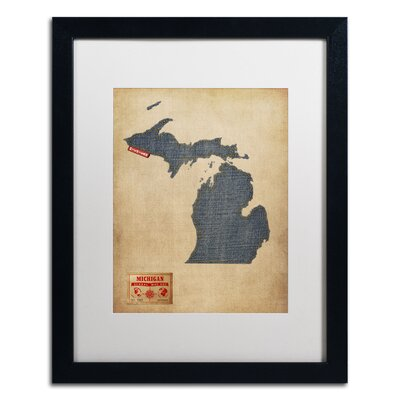"""'Michigan Map Denim Jeans Style' by Michael Tompsett Framed Graphic Art Size: 20"""" H x 16"""" W, Matte Color: White MT0485-B1620MF"""