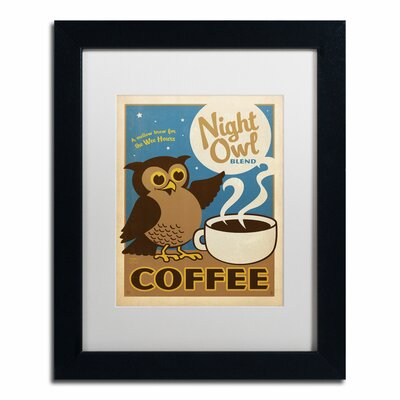 'Night Owl Blend Coffee' by Anderson Design Group Framed Graphic Art Matte Color: White, Size: 14