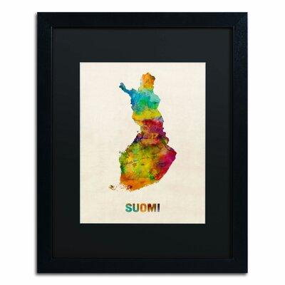 """'Finland Watercolor Map (Suomi)' by Michael Tompsett Framed Graphic Art Size: 20"""" H x 16"""" W, Matte Color: Black MT0499-B1620BMF"""