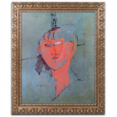 The Red Head, 1915 by Anadeo Modigliani Framed Painting Print Size: 14 H x 11 W x 0.5 D