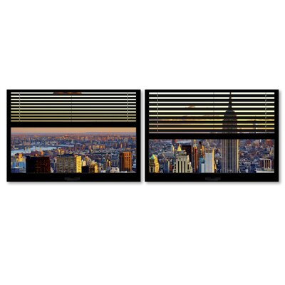 'Window View NYC Sunset 4' by Philippe Hugonnard 2 Piece Photographic Print on Wrapped Canvas Set