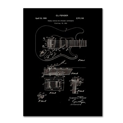 Fender Guitar Tremolo Patent 1956 by Claire Doherty Graphic Art on Wrapped Canvas in Black CDO0055-C1419GG