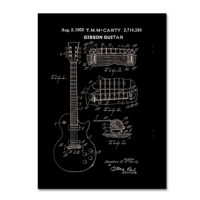1955 McCarty Gibson Guitar Patent by Claire Doherty Graphic Art on Wrapped Canvas in Black CDO0068-C1419GG