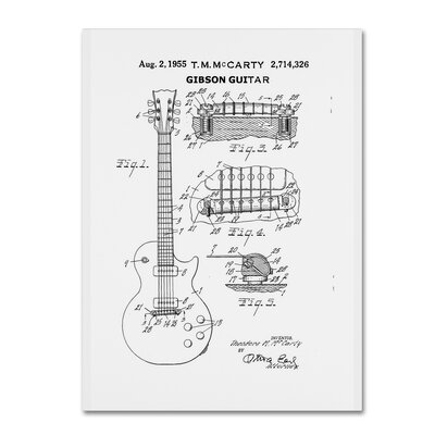 1955 Mccarty Gibson Guitar Patent by Claire Doherty Graphic Art on Wrapped Canvas in White CDO0069-C3547GG